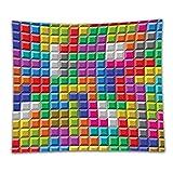 Beshowereb Fleece Throw Blanket Video Games Set Colorful Retro Gaming Computer Brick Blocks Image Puzzle Digital Play Decor with Lo