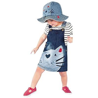 Matoen Toddler Kid Baby Girls Denim Straps Sundress Print Piece Dress Clothing Outfits