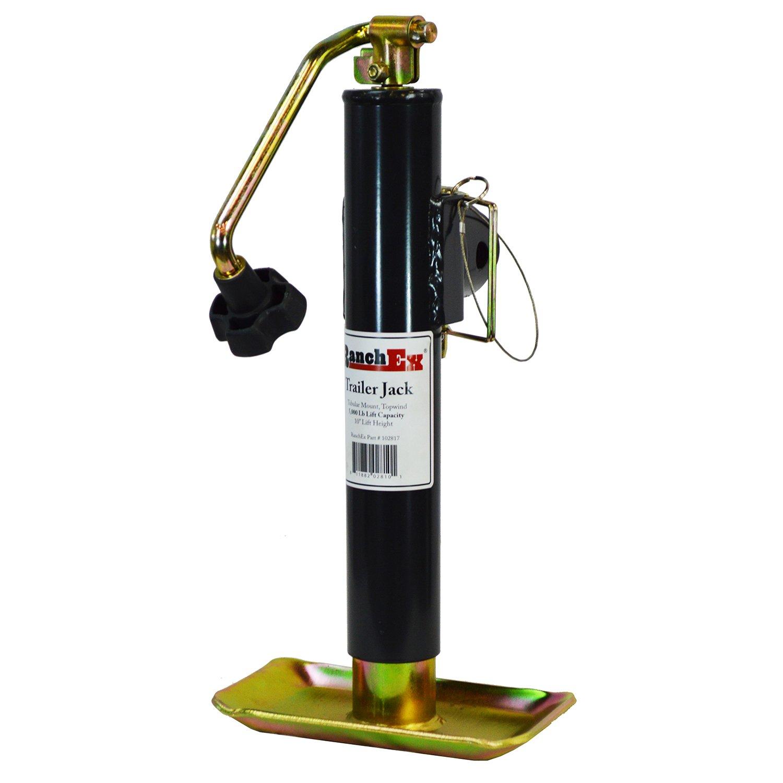 RanchEx 102817 Tubular Mount Topwind Trailer Jack, 5,000 lb. Lift Capacity, 10'' Lift Height