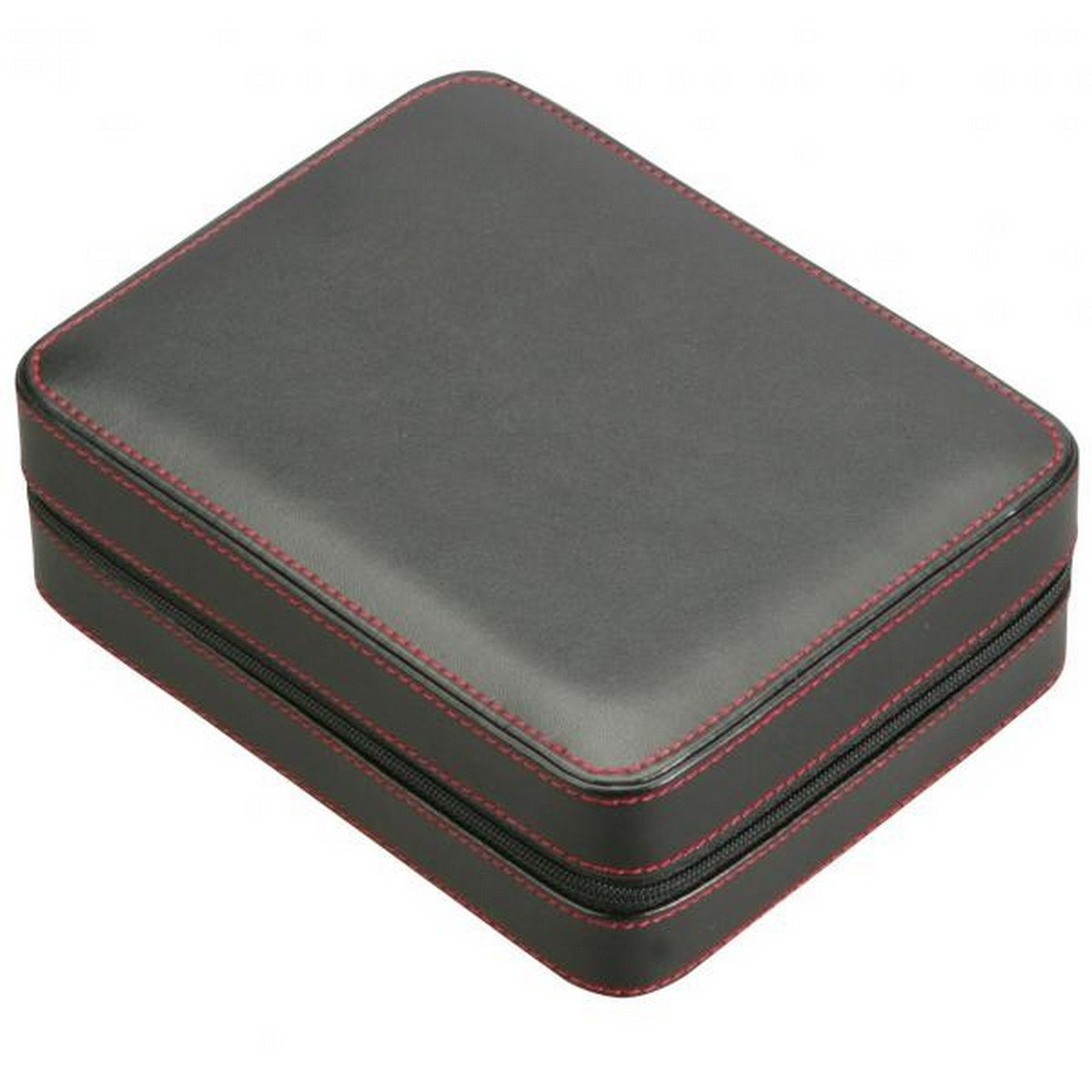 Four Watch Travel Case Pouch in Black Leather w/ Red Stitching