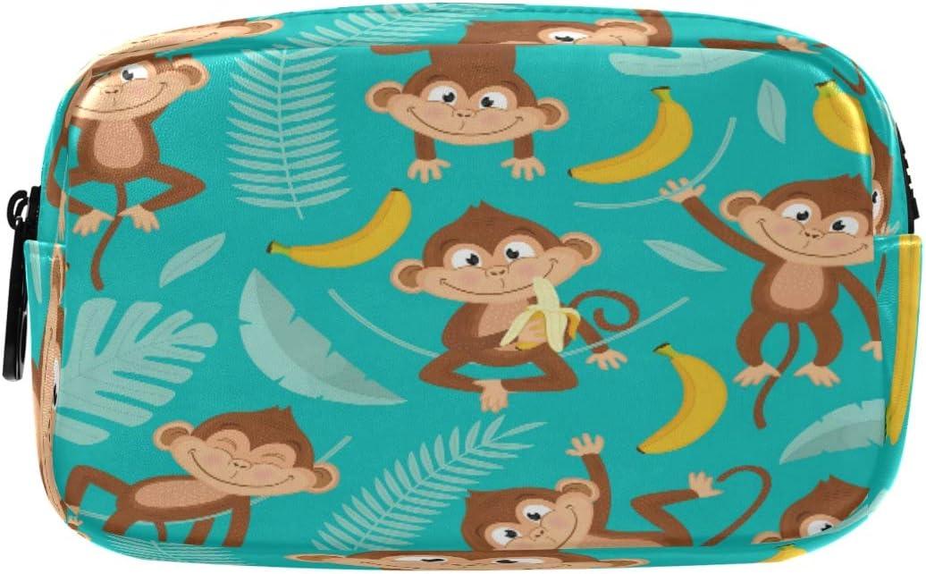 Hunihuni - Estuche para lápices, diseño de mono de animales y plátano, gran capacidad, bolsa de maquillaje con compartimentos dobles con cremalleras