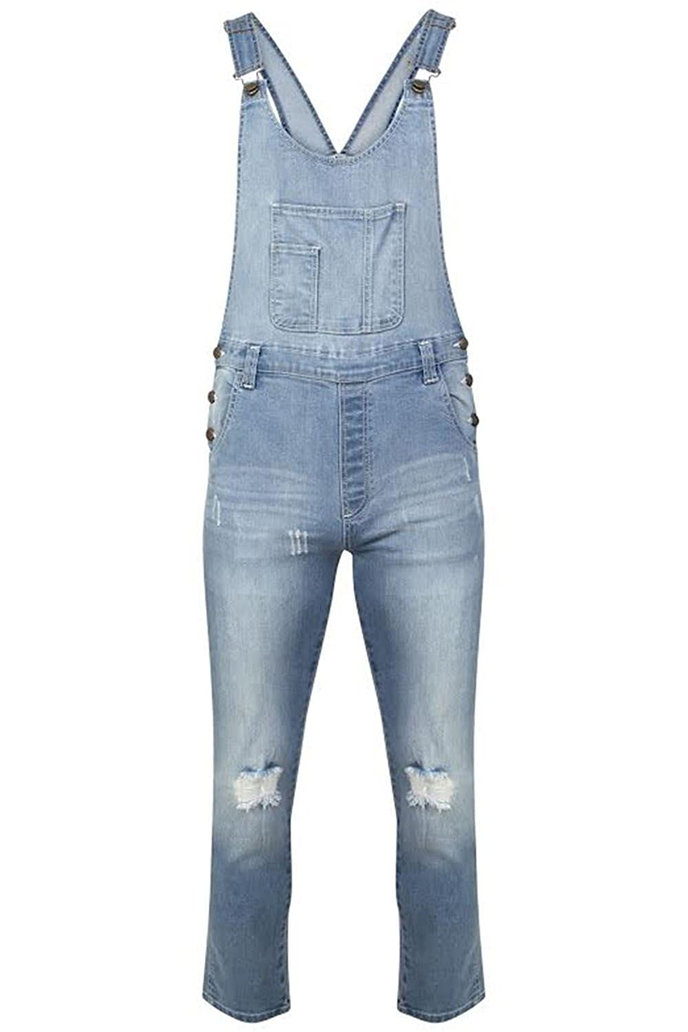 Be Jealous Womens Full Length Pinafore Overall Dungaree Ladies Pockets Casual Celebrity Pure Cotton Denim Jeans Strap Ribbed Sleeveless Playsuit Jumpsuit