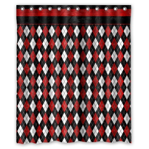 "60""(Width) x 72""(Height)Stylish Lovely Abstract Argyle Pattern Shower Curtain, Black and Red Classic Elegant Argyle Texture Pattern Pattern Bathroom Shower Curtain Shower Rings Included (New Polyester) - Comfortable Life Bathroom Exclusive"