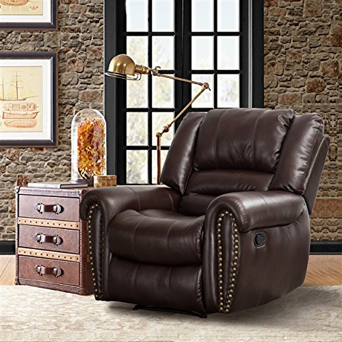 Rocker Leather Chaise Recliner - CANMOV Breathable Bonded Leather Recliner Chair, Classic and Traditional 1 Seat Sofa Manual Recliner Chair with Overstuffed Arms and Back, Brown