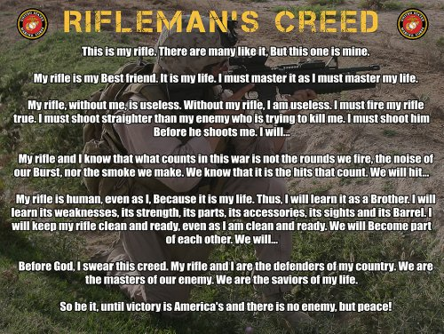 Marine Corps Rifleman's Creed Poster Usmc