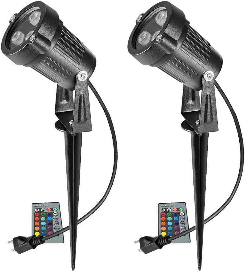 Ourleeme Lawn Flood Light Stake, 2-in-1 Waterproof Outdoor Remote controlle Landscape Lighting Spotlight Wall Light for Yard Garden Driveway Pathway Pool(2 Pack)