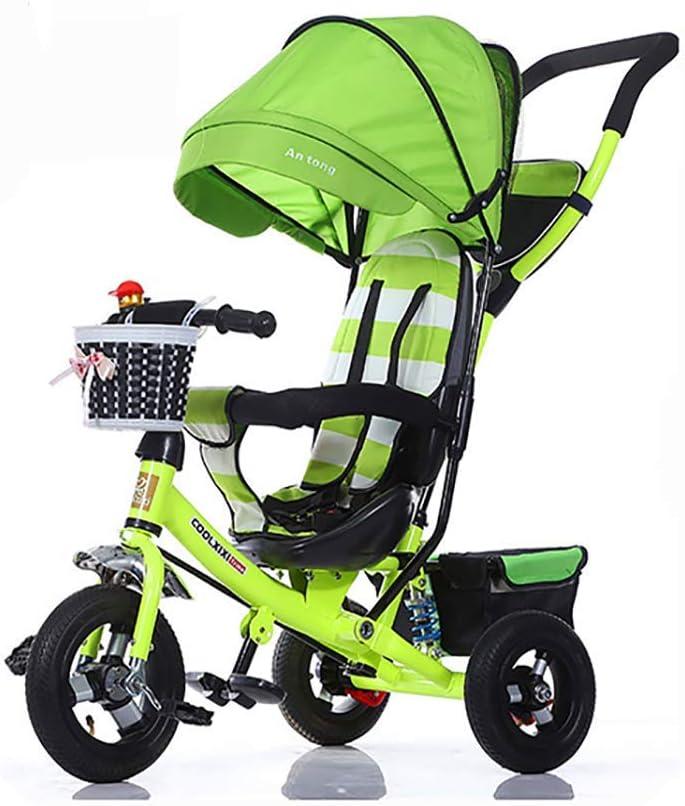 SSLC Triciclo Plegable Bebe,Bicicleta Triciclo Bebe Evolutivo Bicicleta para Bebes Evolutivo Asiento Giratorio con Parasol y Putter 1-6 año Tricilo para Niños Plegable con Cubierta de Lluvia