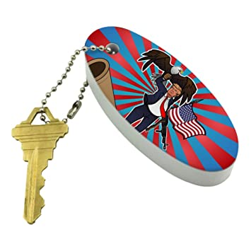 Graphics and More Patriotic Donald Trump with Eagle American Flag Gun Floating Foam Keychain Fishing Boat Buoy Key Float
