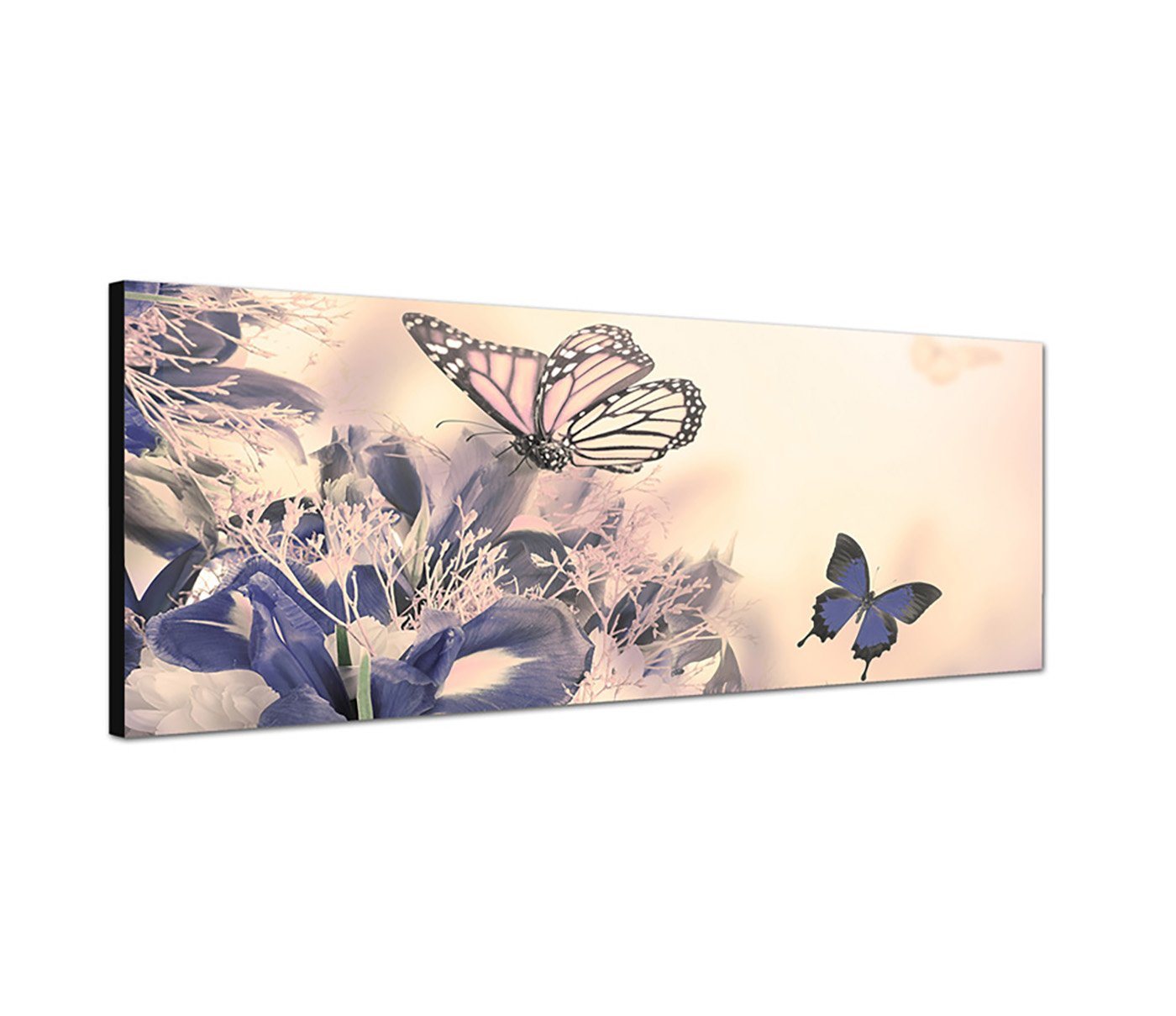 Wandbild 150x50cm Blumenwiese Frühling Schmetterlinge Licht: Amazon ...