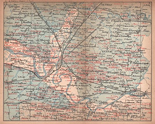 - BORDEAUX WINE MAP. St-Emilion Pomerol Canon-Fronsac chateaux. COCKS & FERET - 1898 - old map - antique map - vintage map - printed maps of Gironde