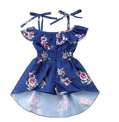 dca93ee3ee440 Amazon.com: Emmababy Infant Toddler Kids Baby Girl Off The Shoulder ...
