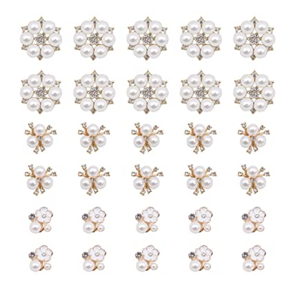 ad3ebf1cc3 30 Pcs Rhinestone Pearl Embellishments, Faux Pearl Flower Embellishments  Pearl Brooch Flatback Pearl Buttons for Wedding Party Home Decoration and  DIY ...