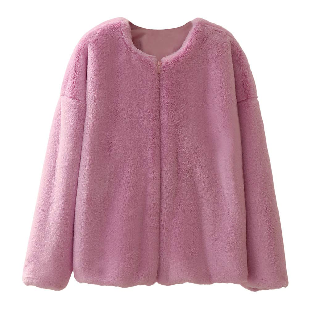 TIFENNY Plush Fur Coats for Women Fashion Winter Long Sleeve Casual Warm Plush Short Jacket Round Neck Cardigan Outwear Purple by TIFENNY