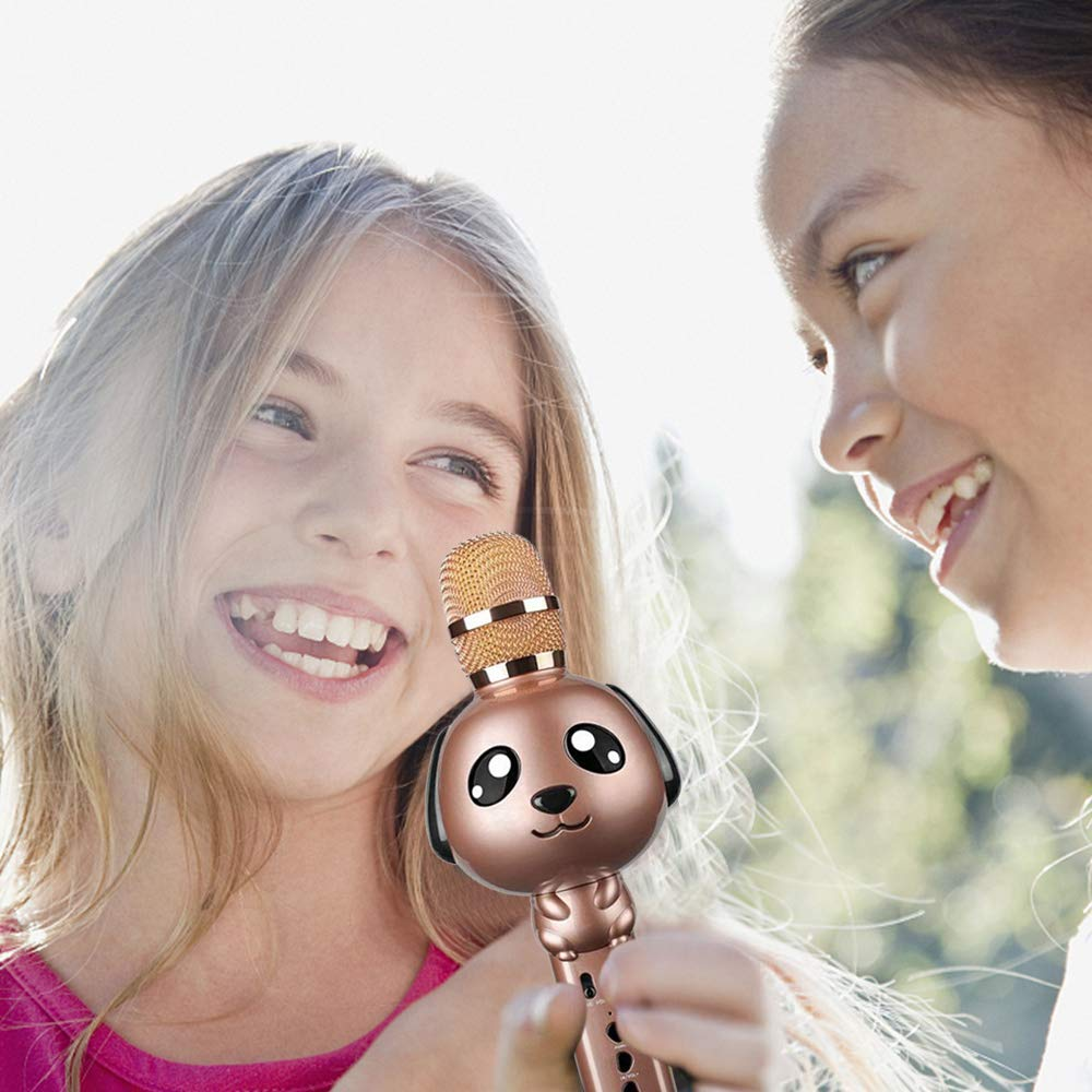 Wireless Karaoke Microphone for Kids Bluetooth Mic Portable Handheld Karaoke Machine for Kids Singing KTV Parties Boys Girls Parties Christmas or Birthday Gifts Toys iPhone Android PC (Rose Gold) by Rhllxzo (Image #2)