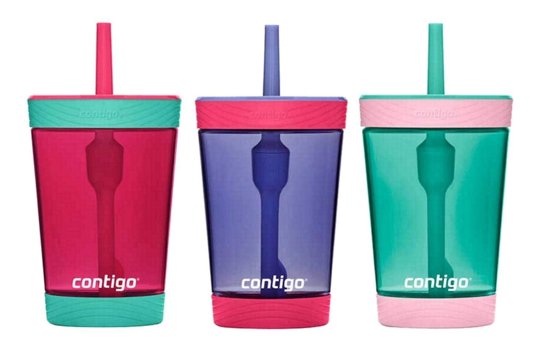 Contigo Kids 3 Pack Tumblers - Pink/Purple/Aqua (Red Purple Green)