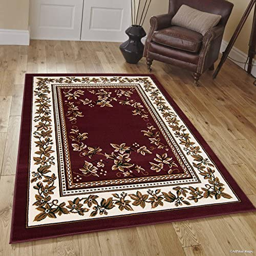 Allstar 5×7 Burgundy French Country Rectangular Accent Rug with Ivory and Mocha Bordered Persian Design 5 2 x 7 0