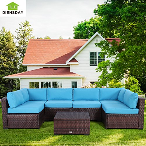 Diensday 7 Piece All-Weather Cushioned Outdoor Patio PE Rattan Wicker Sofa Sectional Furniture Set Clearance Lawn Backyard Furniture,Blue Cushion,Mixed Brown Wicker (High Back Cushions Clearance Chair Patio)