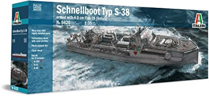 S-Boot Includes Over 600 Detailed Parts Italeri 5620 German WWII Schnellboot S-38 Torpedo Boat - Fully Upgraded Moulds 1:35 Scale Armed with 4 cm Flak 28 Bofors