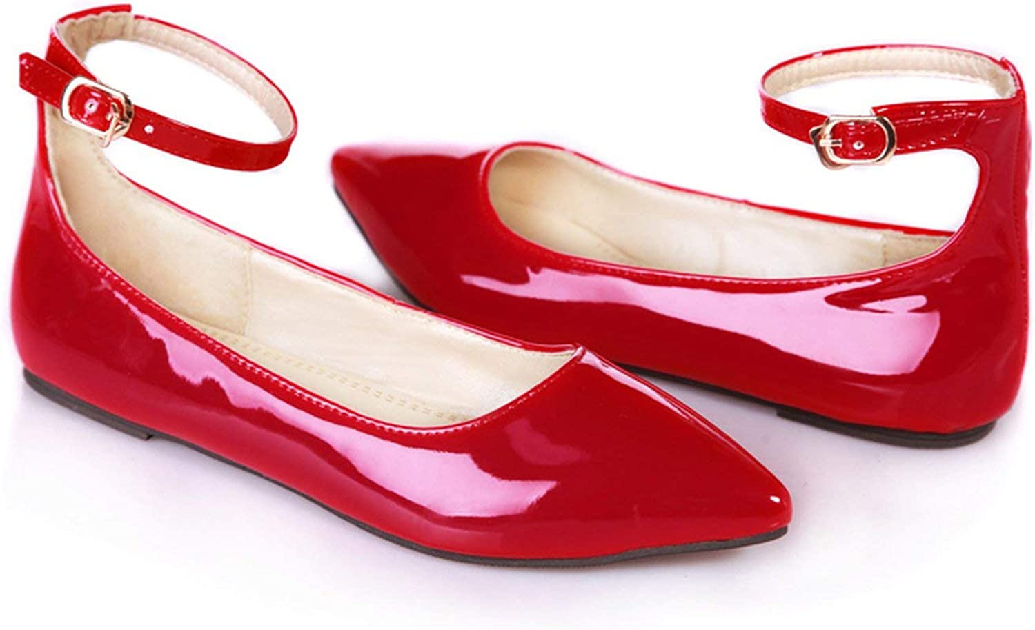 Spring Autumn Flat Shoes Woman Pointed Toe Buckle Casual Patent Leather Women Flats red