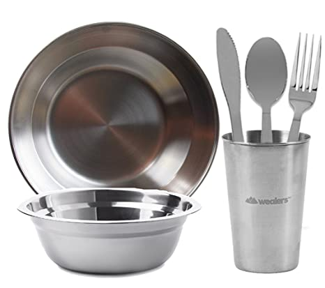 Amazon Stainless Steel Tabelware For Camping Dish Set Outdoor Plate Bowl Cup Cutlerys Mesh Kit Sports Outdoors