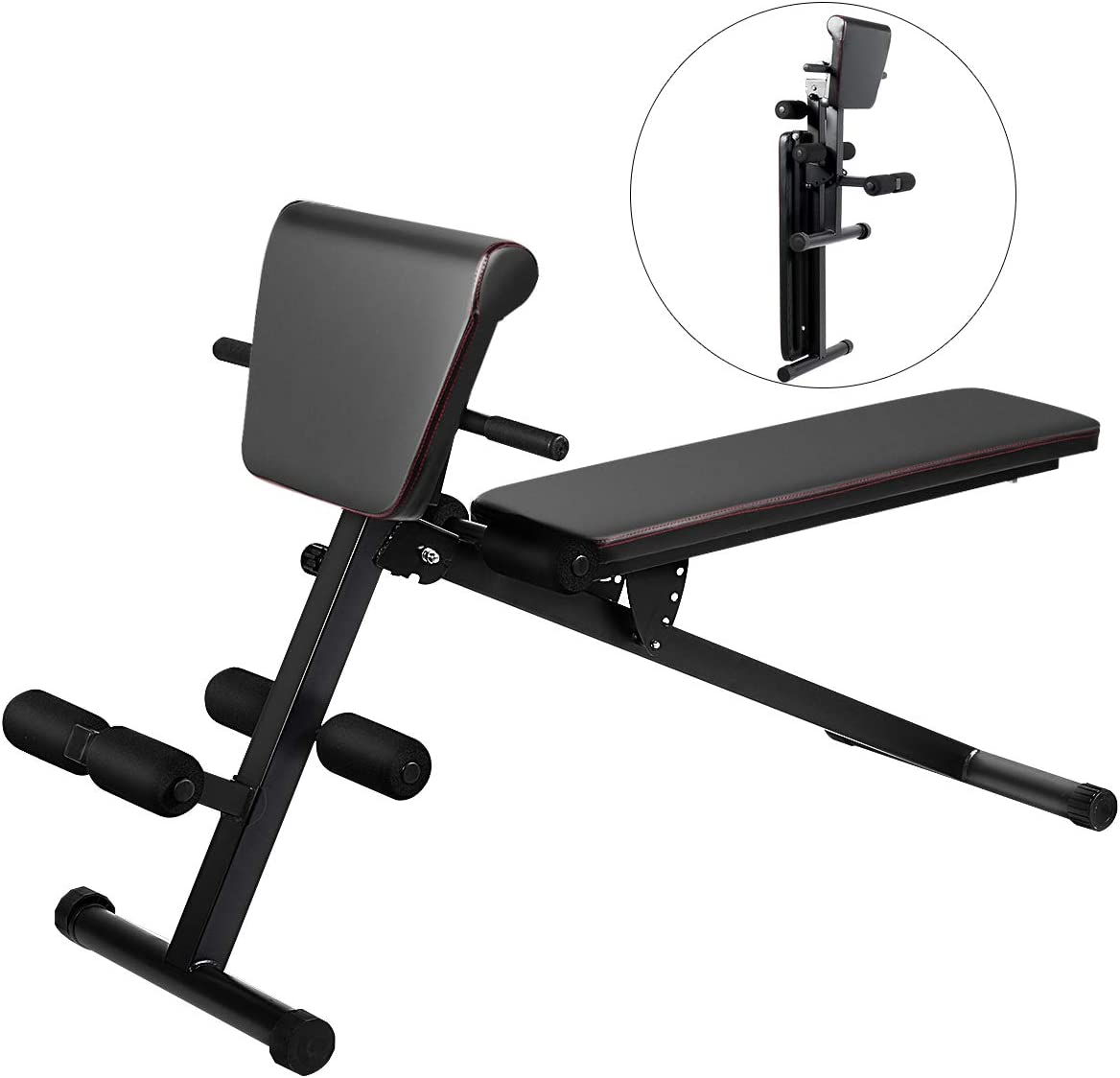 Goplus Multifunctional Weight Bench, Foldable Exercise Bench with Adjustable Positions, for Strength Training Core Workout Training Leg Exercise Sit Up Push Up