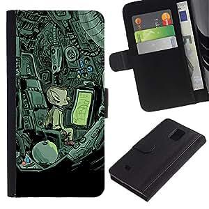 Billetera de Cuero Caso Titular de la tarjeta Carcasa Funda para Samsung Galaxy Note 4 SM-N910 / Alien Spaceship Mysterious Drawing / STRONG