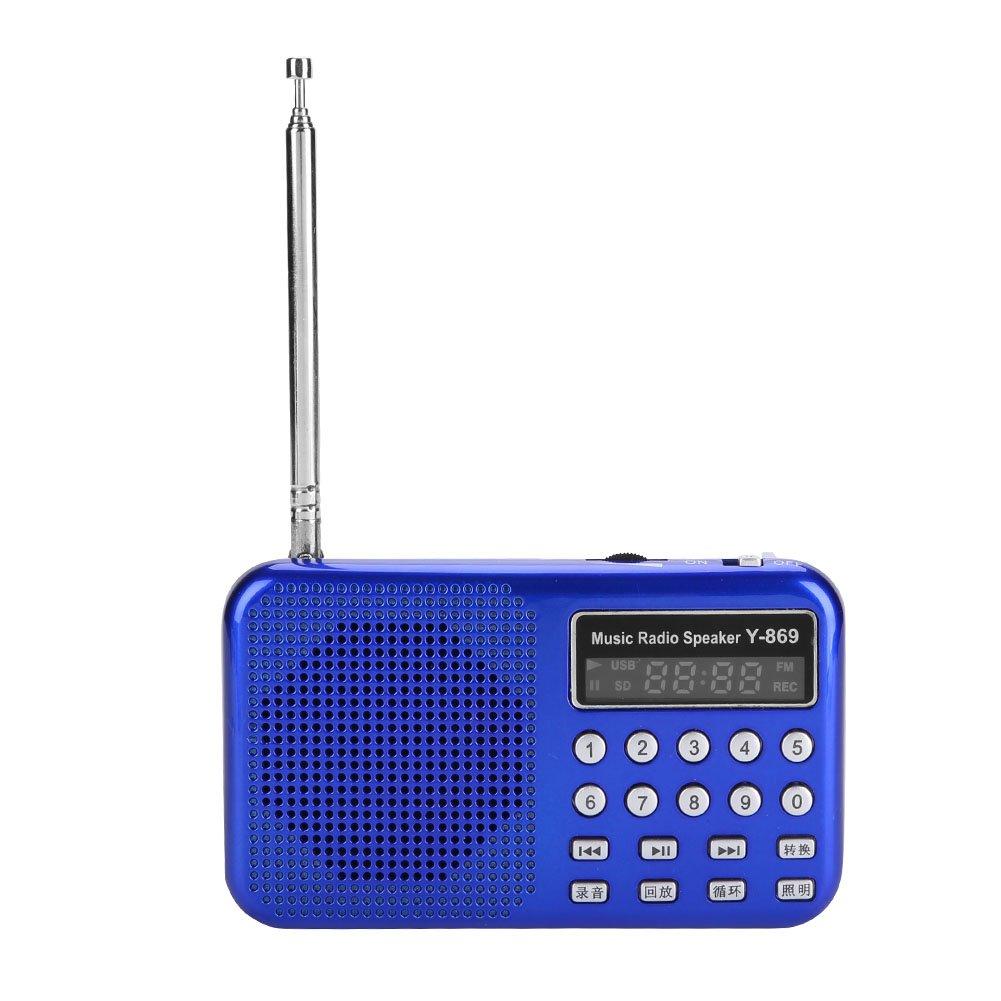 fosa Portable FM Radio, Mini Radio Speaker 70-108MHz Stereo MP3 Player Radio Noise Canceling FM Radio Support USB/TF with LED Flashlight,Wonderful Gift (Blue)
