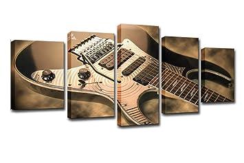 LIS HOME Pintura en Lienzo Arte de la Pared HD Prints Marco 5 Unidades Guitarra Eléctrica Imágenes Vintage Instrumento de Música Cartel Sala de Estar ...