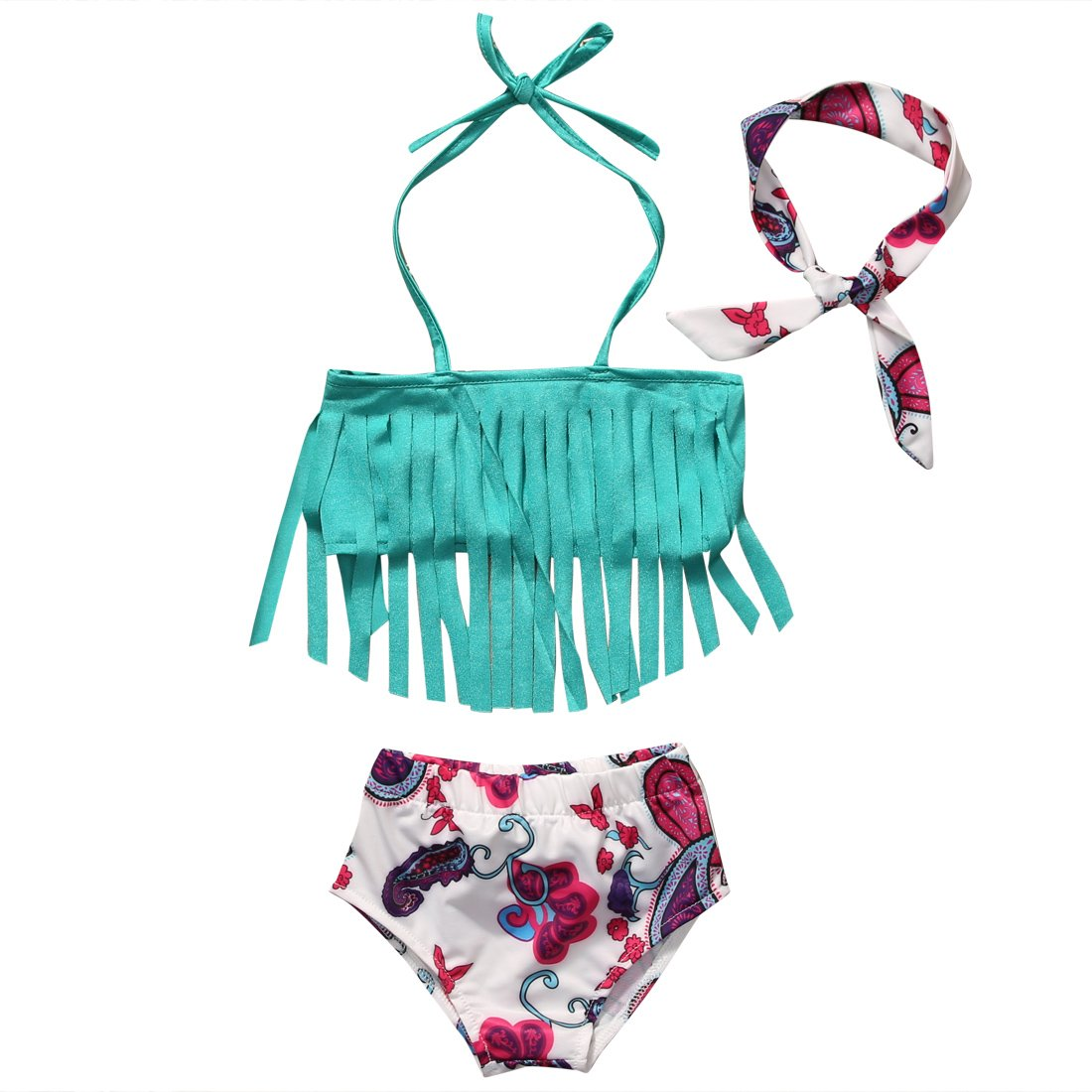hirigin Baby Girls 3 Pcs Swimwear Tassels Halter Top+Floral Bottom+Headband Swimsuit FT16055