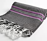 Paradise Series Turkish Bath Towels – Traditional Peshtemal Design for Bathrooms, Beach, Sauna – 100% Natural Cotton, Ultra-Soft, Fast-Drying, Absorbent – Warm, Rich Colors with Stripes Black