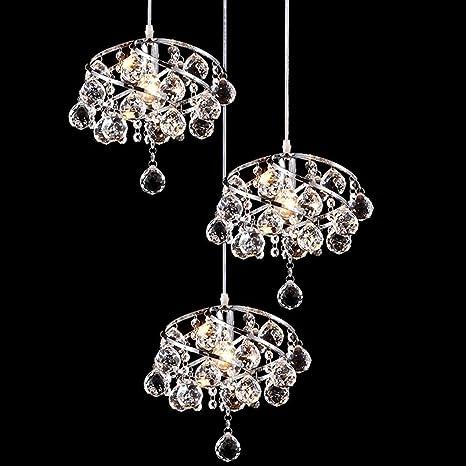 Glighone Lámpara Colgante Cristal 3 LED 40W Lámpara de Techo ...