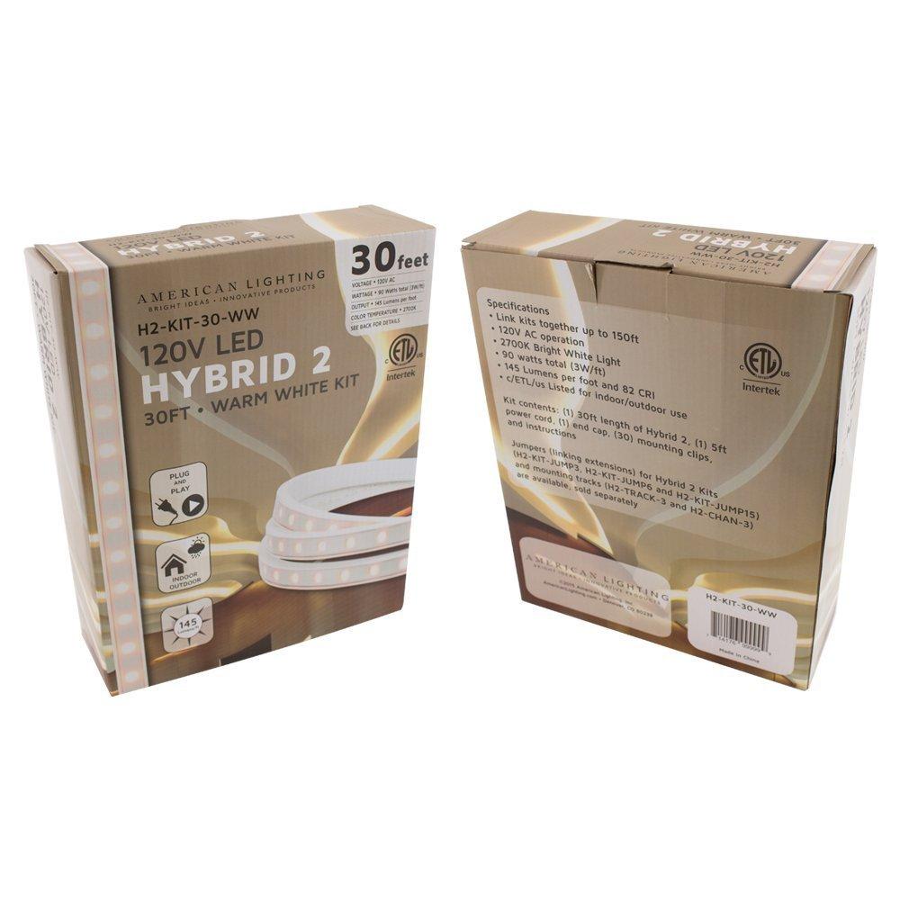 18-Foot Dimmable 54-Watts American Lighting H2-KIT-18-WW LED Hybrid2 Accent Lighting Kit 2700K Warm White 120V
