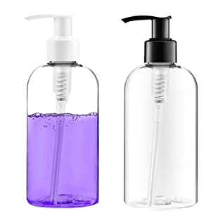 Bottlify Pump Bottles Dispenser Pack of 2- Clear, Empty Plastic Soap Dispenser with Travel Lock, Leakproof Refillable Containers for Toiletries and Kitchen Use