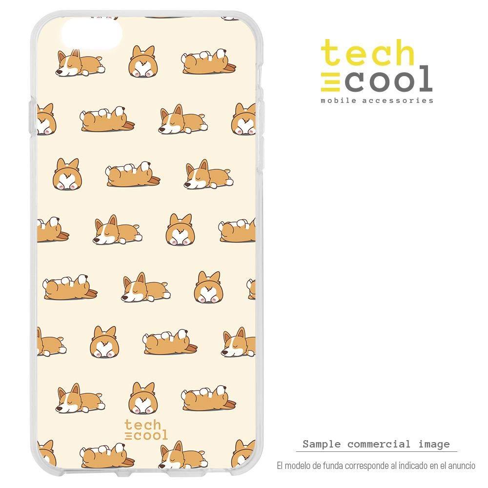 Funnytech® Funda Silicona para Huawei Mate 9 [Gel Silicona Flexible, Diseño Exclusivo] Patron Perros Fondo Amarillo Version 1