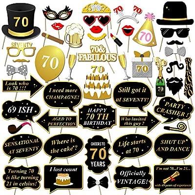 Konsait DIY Photo Booth Props Cumpleaños 70 Años Cabina de ...