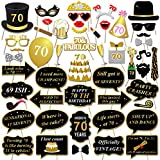 Konsait 70th Birthday Party Photo Booth Props with Stick (50Counts) for Her Him Funny Chic 70th Birthday Black and Gold Decorations, 70 Happy Birthday Party Favors Supplies for Adults Men and Women