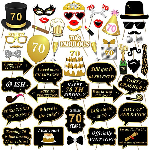 Konsait 70th Birthday Party Photo Booth Props with Stick (50Counts) for Her Him Funny Chic 70th Birthday Black and Gold Decorations, 70 Happy Birthday Party Favors Supplies for Adults Men and Women -