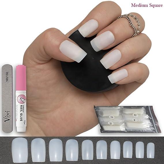 Juego de 100 uñas postizas cuadradas de 10 tamaños, pequeñas/medianas, para manicuras profesionales y en casa, incluye pegamento y una lima pequeña: ...