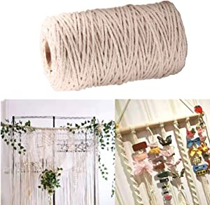 SUMMERWY Macrame Cord, Soft Twisted Cotton Rope Biodegradable Cord for Wall Hanging, Plant Hangers, Crafts, Knitting, Decorative Projects (200m 4mm)