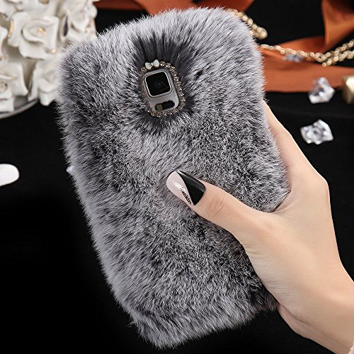 For Samsung Galaxy S8 PLUS Case, FLOVEME [Slim Fit] [Bling Diamond] Luxury Winter Soft Warm Faux Rabbit Fur Fuzzy Plush with Crystal Cute Bowknot Protective Back Cover for Girls Xmas Gift, Gray