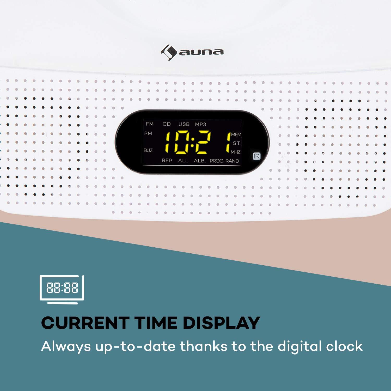 auna Vertiplay • Reproductor de CD • Bluetooth • Radio FM • USB • Entrada AUX • Reloj Digital • 10 W de Potencia • Luz Nocturna • Montaje en la Pared ...