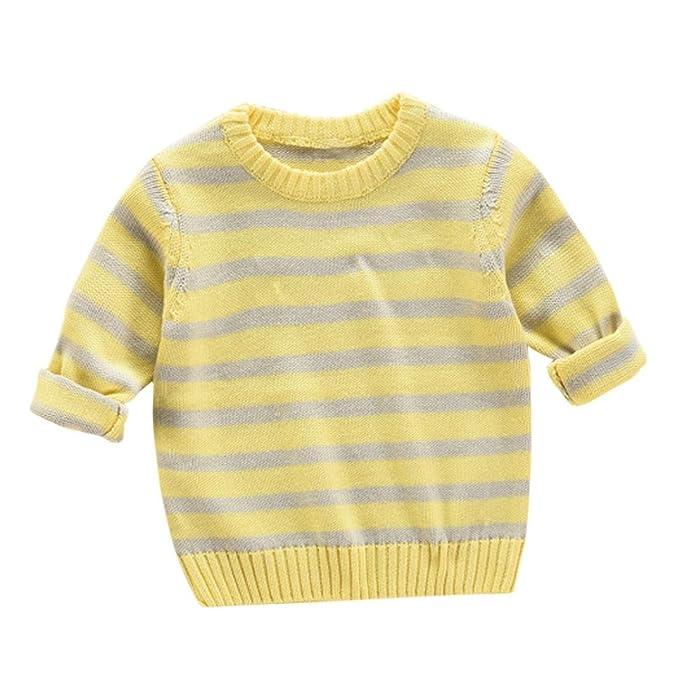 Logobeing, Suéteres de Rayas de Bebé Jersey de Punto Abrigo Caliente (Amarillo, 100