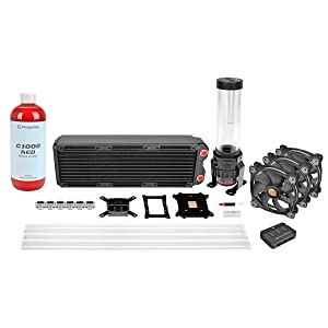 Thermaltake Pacific RL360 D5 Hard Tube Water Cooling Kit with 3X Riing 120 mm Hi Static Pressure 256 Colour RGB LED Fan - Black