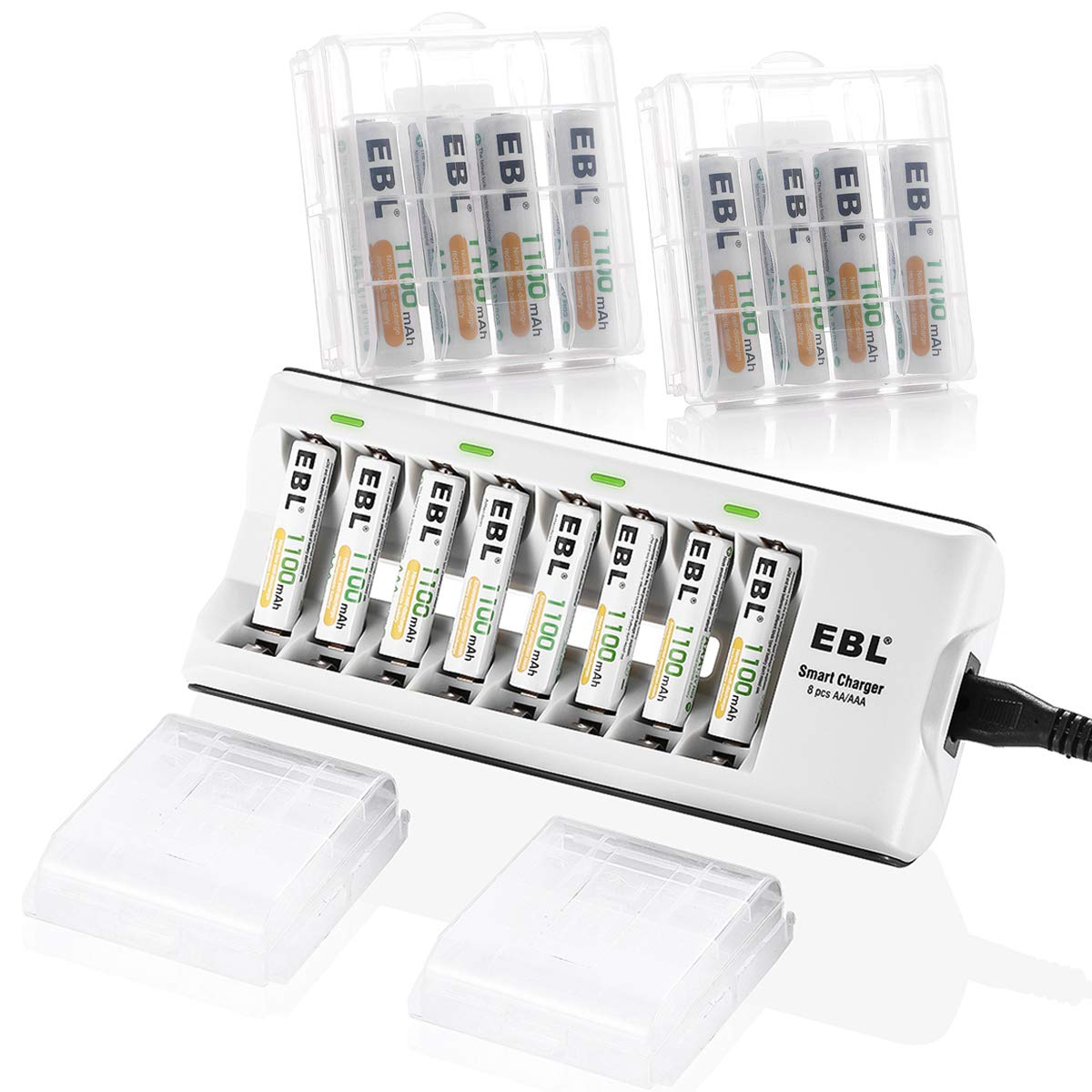 EBL AAA Batteries Rechargeable 16-Packs (ProCyco Rechargeable) and 8Bay ETL AA AAA Battery Charger