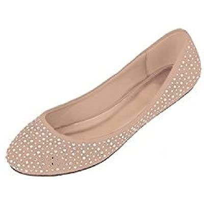 Shoes 18 Womens Faux Suede Rhinestone Ballerina Ballet Flats Shoes | Flats