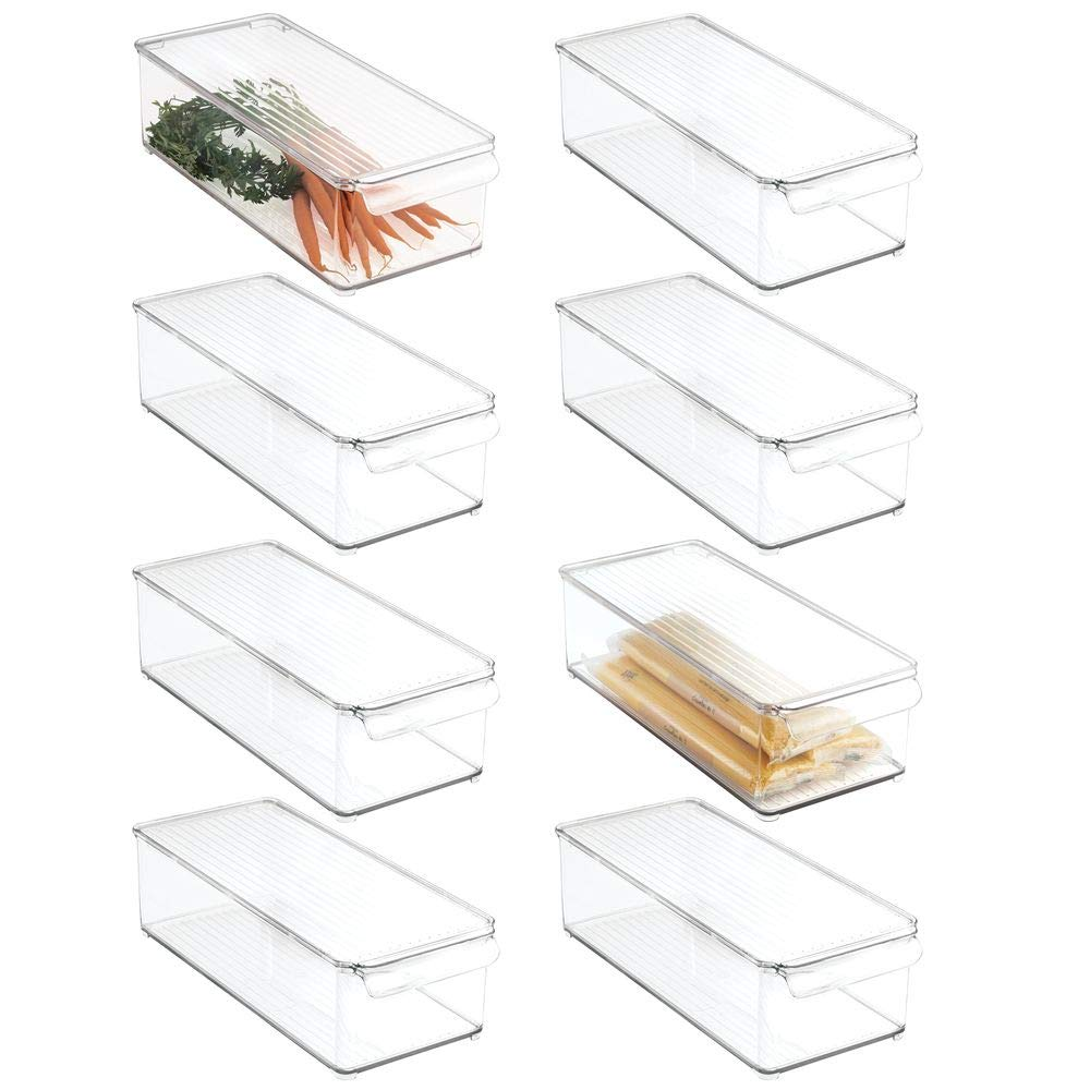 mDesign Plastic Food Storage Container Bin with Lid and Handle - for Kitchen, Pantry, Cabinet, Fridge/Freezer - Organizer for Snacks, Produce, Vegetables, Pasta - BPA Free, Food Safe - 8 Pack, Clear