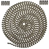 10 Foot Length Ball Chain, 6 Size, Nickel Plated Steel & 10 Matching Connectors