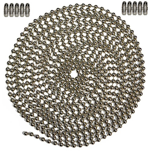 (10 Foot Length Ball Chain, Number 6 Size, Nickel Plated Steel & 10 Matching)