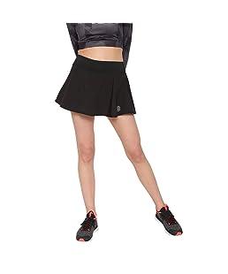 CHKOKKO Women Girls Solid High Waist Flared Royal Knit Skater Short Mini Tennis Skirts with Divider Shorts