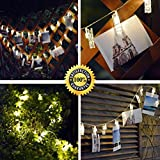 LED Photo Clips String Lights,party lights,Picture display lamp,Fairy String Lights,Christmas Cards Display lights and Dormitory Decor lights (15 Ft,Battery, Warm White)